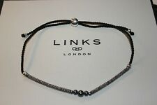 GENUINE LINKS OF LONDON EFFERVESCENCE XS OXIDISED SILVER WOVEN CORD NECKLACE