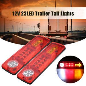 2pcs 23 LED Trailer Car Rear Tail Brake Stop Turn Lights Indicator Reverse Light