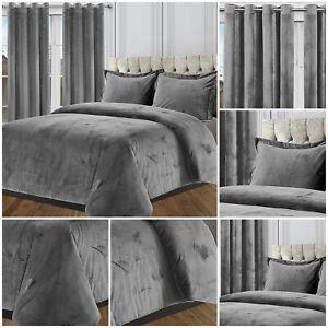 Plush Velvet Grey Duvet Cover Set With Pillow Cases & Matching Eyelet Curtains