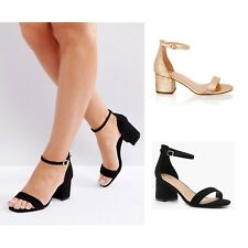 Womens Low mid Block Heel Ankle Strap Open Peep Toe Strappy Summer Sandals