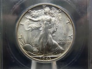 """1943 """"S"""" Walking Liberty Half Dollar 50c ICG MS64 East Coast Coin & Collectables"""