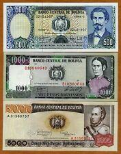 SET Bolivia, 500;1000;5000 Pesos Bolivanos, 1981-1984, P-166-167-168 UNC