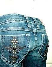 SANG REAL Jeans KING RICHARD 27x33 STUDDED WING CROSS Pkt LOW Stretch Slim BOOT