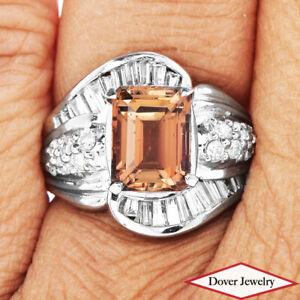 GIA Diamond 4.28cts Natural Orange Tourmaline Platinum Cocktail Ring 14.9 Gr NR