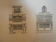 Planche gravure Moyen age Jacques Androuet du cerceau deux meubles