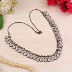 Black Rhodium Traditional Handmade Rainbow Moonstone Brass Fashion Necklace