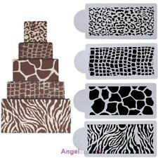 4X Animals Skin Cake Stencil for Wedding Fondant Cake Decorating Tool Mold