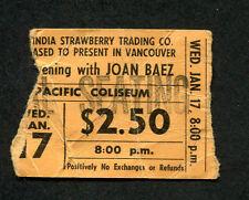 Original 1960's Joan Baez concert ticket stub Vancouver Diamonds & Rust