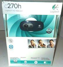 New Logitech C270H HD Webcam Built-in Mic w/ Headphones 720p 5FT Cable CD Manual