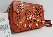 Michael Kors Flowers Pouches Medium Camera Bag Crossbody Orange Gold NWT $248