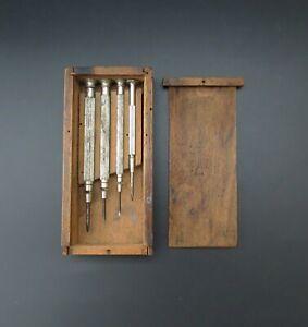 Set of Vintage SHETACK Watchmaker's/Engineer's Screwdrivers in Original Wood Box