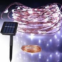 10M 33FT 100LED Solar powered Copper Wire LED String Fairy Light Christmas Light