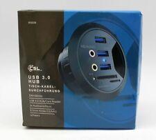 CSL USB 3.0 Hub Tisch Kabeldurchführung Ø 60 mm 2x Audioanschluss 3.5 Klinke, sc