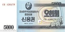 "Korea North 5.000 Won 2003 Unc pn P-901 ""Savings Bond"" Issue"