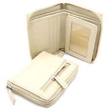 Bifold Light Beige Genuine Leather Zip-Around Wallet with Outer Zipper Pocket