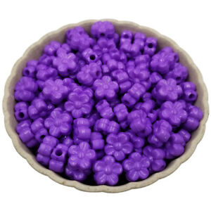 100PCS 9mm Flower Acrylic Loose Spacer Beads Mix Candy Color  Jewellery DIY Lot