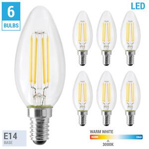 6 Pack S12115 4.5W Torpedo Euro E14 Clear 30K Warm White 120V LED Filament Bulbs