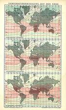 Alte historische Landkarte 1903: Temperaturverteilung auf der Erde. (B14RA)