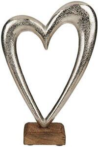 B - Ware - Metall-Herz, silberfarbend, auf Holz-Standfuß-Verpackungsschaden