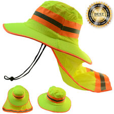 Hi Visibility Reflective Work Safety Neck Flap Boonie Hat Neon Green Bucket Cap