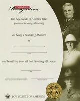 BOY SCOUT OFFICIAL LICENSED FOUNDERS RECOGNITION CERTIFICATE ADULT AWARD 8.5X10""