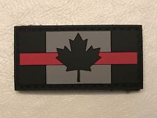 Single Fire Thin Red Line Canadian Flag PVC Rubber Morale Patch FREE SHIPPING