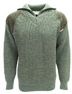 Chunky Zip neck sweater   Harris Tweed patches   100% British Wool   # 41121