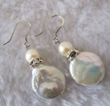 11-12mm Coin pearl Cultured Freshwater White Pearl Silver Hook Earrings JE178