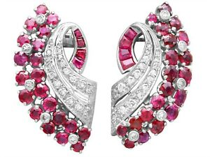 1930s Antique 1.86ct Ruby 0.55ct Diamond White Gold Earrings