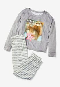 NWT Justice Girl's cookie squirrel Santa pajamas PJ Shirt Pants Christmas 7 14