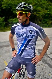 Police Cycling Jersey & Bib Shorts Complete Kit Full Zip Men's 3X-Large NWT