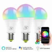 E27 B22 7W WiFi Smart LED Light Bulb Globe For Alexa Google Home RGB Lamp Socket