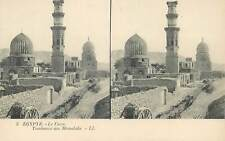 Postcard Stereographic image Egypt Cairo the Mameluk tomb