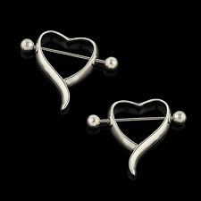 Amazing Surgical Steel Love Heart Nipple Shield Bar Ring Body Piercing JT21