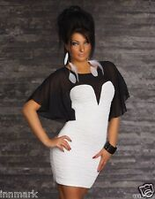 551A NEW WOMENS PLEATED BATWING SLEEVE STRETCH WHITE/BLACK DRESS L UK 12 EU 40