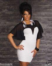 551A NEW WOMENS PLEATED BATWING SLEEVE STRETCH WHITE/BLACK DRESS L UK 12 EU 40