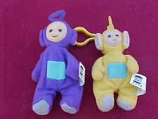 2 TELETUBBIES 1999 LSA-LSA YELLOW & TINKY WINKY PURPLE CLIP ON FINGER PUPPET