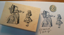 Alice in Wonderland with queen pointing rubber stamp P13