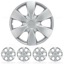 4 Set of 15 Inch Hub Caps for Car & SUV ABS Hubcaps Snap-On Installation Silver