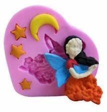 Angel, moon, stars 5 cavity Heart Silicone Mold for Fondant, GP & Chocolate