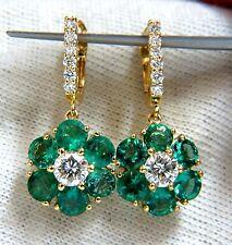 5.38ct Flora Cluster Natural emerald diamond dangle earrings 14kt vivid greens