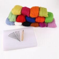 Juego de 15 colores Fieltro de lana + 10 agujas + respaldo de espuma Q8Z4