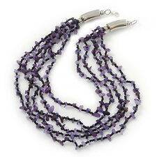 Amethyst/ Black Multistrand, Layered Glass Bead Necklace In Silver Plating - 60c