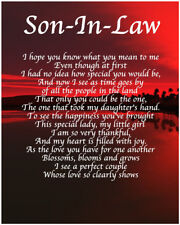 Personalised Son In Law Poem Birthday Christmas Christening Gift Present