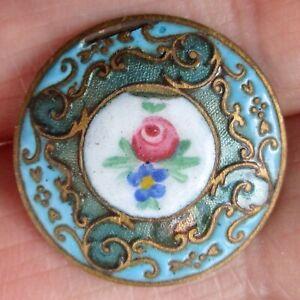 "7/8"" Antique Champlevé Enamel on Brass Button w Hand Painted Enamel Flower"