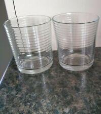 2 x Clear Glass Ribbed Tumblers