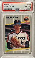 NOLAN RYAN 1989 FLEER CARD #368 PSA GRADED MINT 8 RANGERS HOUSTON ASTROS