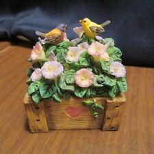 Vintage Porcelain Trinket Box with Birds and Flowers Figurine,
