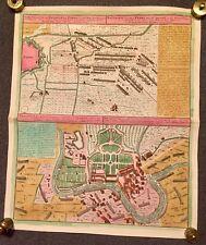 Original antike Landkarte, Vorstellung der Bataille bey Parma 1734
