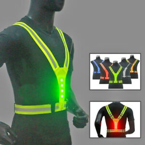 Reflective Vest Led Cycling Jackets Safety Running Light Night Visibility Sports